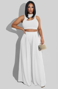 Summer Party White Cut Out Crop Top and High Waist Wide Trouser Set