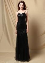 夏のフォーマルな黒のスパンコールストラップマーメイドイブニングドレス