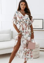 Verano elegante floral blanco vestido largo vestido de tirantes