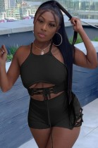 Summer Party Black Lace Up Halter Crop Top e Shorts Set