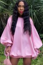 Herbst beiläufiges rosa schulterfreies Puffärmel-kurzes Kleid