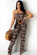 Macacão para festa de verão sexy com alça leopardo bodycon
