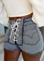 Pantalones cortos de mezclilla ajustados de cintura alta con cordones de verano