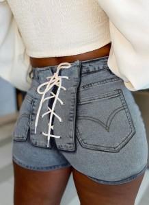 Летние узкие джинсовые шорты с завышенной талией на шнуровке