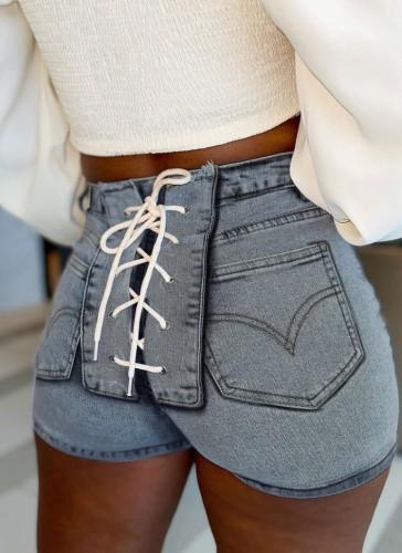 Summer Lace Up High Waist Tight Denim Shorts