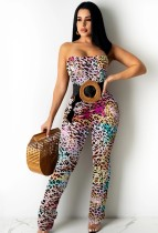 Summer Party Sexy Leopard Strap Bodycon Jumpsuit