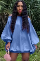 Vestido curto casual outono azul manga folheada ao ombro