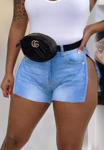 Shorts jeans com fenda lateral sexy lavada azul verão