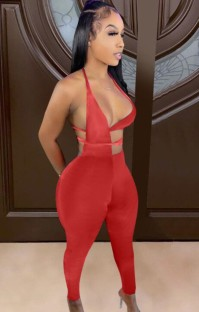 Sommerfest Sexy Roter Cut-Out Neckholder Bodycon Jumpsuit