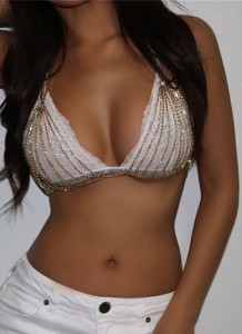 Sujetador sexy de cadenas de oro de fiesta de verano