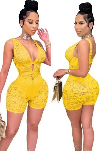 Macacão de bodycon sem mangas amarelo para festa de verão