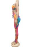 Zomerfeest Sexy uitgesneden tie-dye bodycon jumpsuit