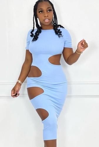 Vestido midi rasgado para festa de verão sexy azul recortado