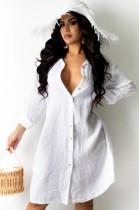 Herbst beiläufiges weißes langes Blusenkleid mit vollen Ärmeln