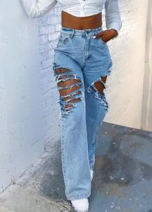 Летние синие рваные прямые джинсы с высокой талией