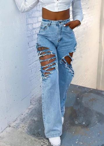 Calça jeans reta de cintura alta rasgada azul verão