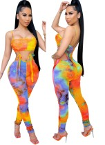 Summer Party Sexy Cut Out Tie Dye Strap Bodycon Jumpsuit