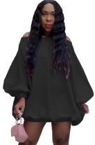 Herbst beiläufiges schwarzes schulterfreies Puffärmel-kurzes Kleid