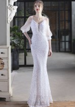 Vestido de noche de sirena con correa de parche de lentejuelas blancas formales de verano