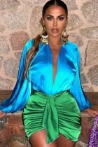 Herfst formele kleurblok pofmouw Deep-V mini-jurk