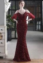 Vestido de noche de sirena con correa de parche de lentejuelas rojas formales de verano