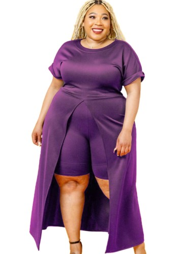 Conjunto Outono Plus Size Roxo Formal com Fenda Frontal Longa e Shorts