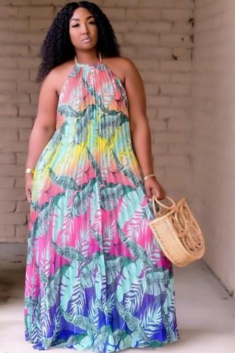 Vestido longo de verão longo de verão plus size floral com frente única pregueada