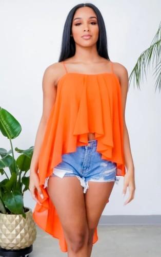 Verão casual laranja chiffon frente curta nas costas de alças compridas tops