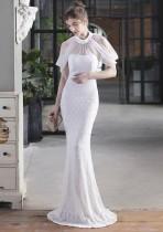Vestido de noche de sirena con parche de lentejuelas blancas formales de verano