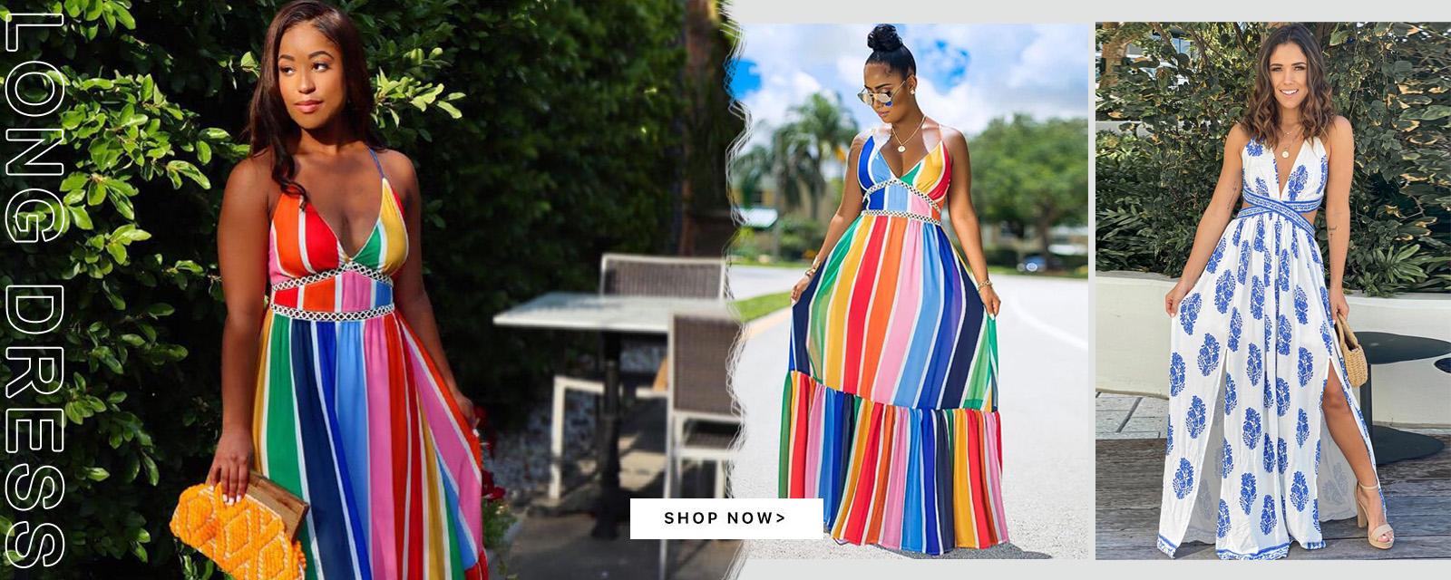 Vestido longo maxi com listras coloridas de verão