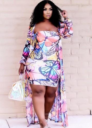 Vestido borboleta tamanho outono plus size com macacão combinando