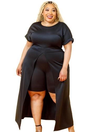 Conjunto Outono Plus Size Preto Formal com Fenda Frontal Longa e Shorts