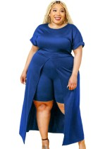 Herbst-Set in Übergröße, blau, formal, vorne geschlitzt, langes Top und Shorts