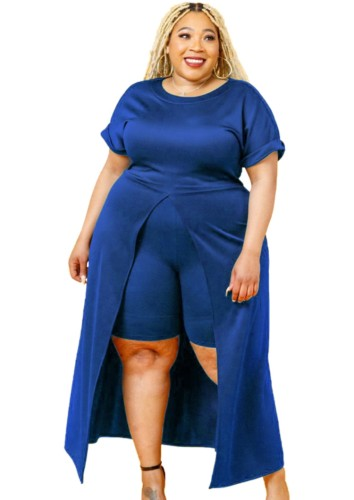 Conjunto Outono Plus Size Azul Formal com Fenda Frontal Longa e Shorts