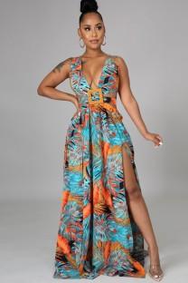 Летнее длинное платье макси без рукавов с V-образным вырезом без рукавов с принтом больших размеров