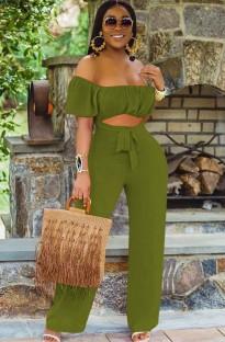 Tuta sexy senza spalline con maniche corte ritagliate verde estivo