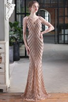 Sommer formales goldenes Pailletten-Ketten-V-Ausschnitt Meerjungfrau-Abendkleid