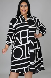 Осеннее платье-блузка с принтом больших размеров и длинными рукавами