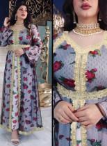Arab Dubai Arabo Medio Oriente Turchia Marocco Abbigliamento islamico Floreale Caftano Abaya Abito musulmano