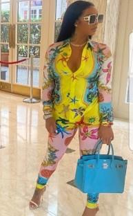 Sonbahar Baskı Retro Bluz ve Uyumlu Pantolon Takım