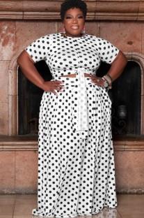Летний белый укороченный топ в горошек больших размеров и длинная юбка Summer