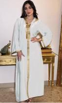Arab Dubai Arab Middle East Turkey Morocco Islamic Clothing Hooded Kaftan Abaya Embroided Muslim Dress White