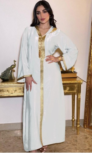 Árabe Dubai Árabe Médio Oriente Turquia Marrocos Roupa islâmica com capuz Kaftan Abaya bordado muçulmano vestido branco