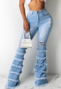 Осенние синие расклешенные джинсы с высокой талией и рваными кисточками