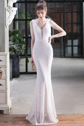 Summer Formal White Sequin Chains V-Neck Mermaid Evening Dress