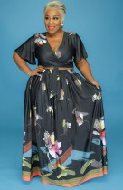 Conjunto de falda larga y top corto floral negro de talla grande de verano