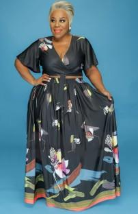 Летний черный укороченный топ с цветочным рисунком больших размеров и длинная юбка Summer