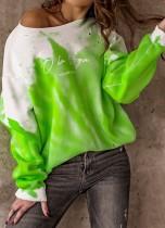 Felpe con stampa autunnale verde O-Collo Pullover