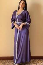 Arab Dubai Arabo Medio Oriente Turchia Marocco Abbigliamento islamico Caftano Abaya Abito musulmano ricamato viola