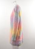 Cardigan lunghi arcobaleno autunnali con maniche lunghe